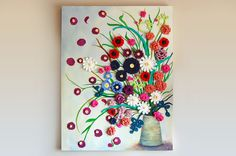 Flower Pot CROCHET  PAINTING on CANVAS Vase by sweetdashsprout