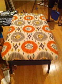 Ottoman made from old coffee table!