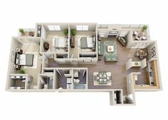 apartment floor plans The Calla Lily Three Bedroom Two Bathroom Floor Plan Sims 4 House Plans, House Layout Plans, Dream House Plans, House Layouts, Condo Floor Plans, Bathroom Floor Plans, Apartment Floor Plans, Home Building Design, Building A House