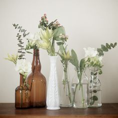 greenery / mixed glass bottles