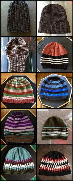 100 hats from Yarn Projects, Knitting Projects, Knitting Patterns, Crochet Patterns, Knitted Hats, Crochet Hats, Crochet Diagram, Scarf Hat, Knitting Accessories