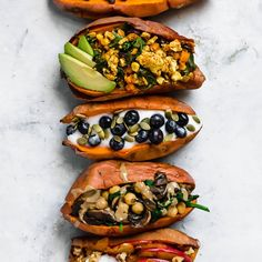 Switch up your morning meal by trying these Stuffed Breakfast Sweet Potatoes! There are 5 different recipes, with sweet and savory options. These are healthy, tasty, easy to make.(vegan & gluten-free)