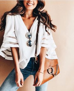 New Summer Fashion V Neck Women Casual Loose Half Sleeve Blouse Tops Blouses&Shirts Vetement Hippie Chic, Spring Summer Fashion, Spring Outfits, Spring Style, Summer Outfits Women Over 30, Spring Wear, Trend Fashion, Womens Fashion, Ladies Fashion