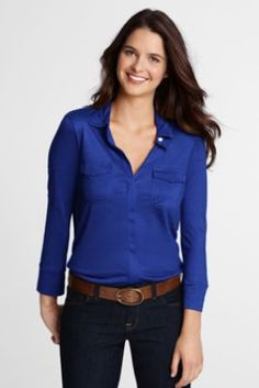 Womens 3/4-sleeve Drapey Knit Button-front Shirt from Lands End -- I got this in my @Gwynnie Bee package and am in love with this shirt! It was also exciting to find out that it was pretty affordable. I'm definitely purchasing this!