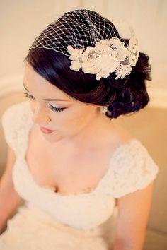 vintage wedding veil on bride