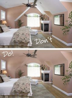 bedrooms with low sloped ceilings | Couldn't find the ideas for slanted ceilings but saw some neat ideas ...