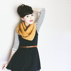 layer a shirt under a dress, add a scarf and belt on top!