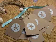 $6.50 - 10 Wedding Favor Tags with Little Pearls - Aqua and White Pearl on Tan, Beach Weddings, Showers, Parties, Customize Any Color