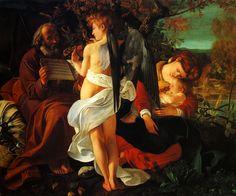 Michelangelo Merisi da Caravagio, Le repos pendant la fuite en Egypte, Huile sur Toile 135,5 x 166,5 cm, Rome : Galleria Doria Pamphili, 1596.