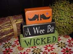 Items similar to All Hallows Eve Halloween Wood Block Set on Etsy