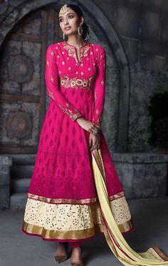 Splendorous Deep Pink Latest Anarkali Suit