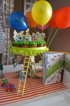 Go Dog Go boy's birthday party cupcake display idea www.spaceshipsandlaserbeams.com