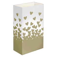 Standard Luminaria Bags - Gold Hearts (24 Count), Gold/White