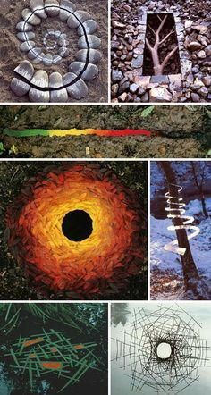 Another of my favorites, Andy Goldsworthy, is an English artist who creates environmental artworks using whatever he finds around him -- colored leaves in autumn, icicles, stones, feathers, sticks and berries. The results are temporary, recorded in photos, and though they look like they would be easy to create, it's a lot harder than you would think to create really good ones.