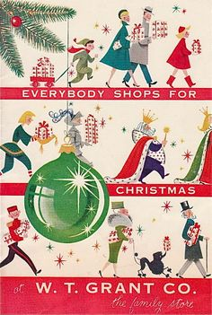 W.T. Grant, 1956 Christmas advertising - mid century modern