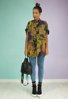 90s crazy patterned shirt - ladies