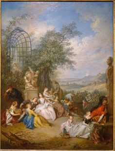 A Fete Champetre During the Grape Harvest, by Jean-Baptiste Pater, c. oil on canvas - Dallas Museum of Art - Art Periods, French Rococo, Jean Baptiste, Dallas, Oil On Canvas, Museum, 18th Century, Harvest, Picnic