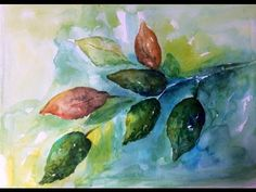 Free Watercolor Tutorial for beginners ~ no drawing, just real Leaves - YouTube