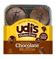 Double Chocolate Muffins, what's wrong with a little decadence :)  Udi's® Gluten Free Bread