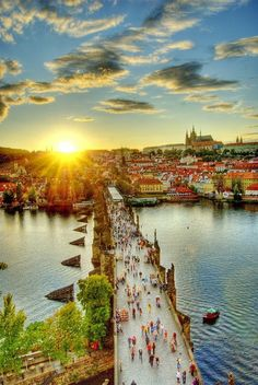 Overview of the Charles Bridge at dusk in Prague, Czech Republic.