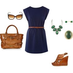 Navy blue, Kelly green, and brown accents, created by melissa-ann-1.polyvore.com