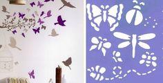 crea formas en la pared con plantillas