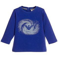 ARMANI BABY Baby Boys Royal Blue Swirl Logo T-Shirt