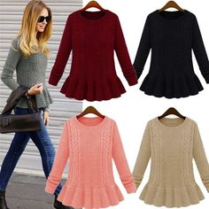 New Women Casual Long Sleeve Knitwear Jumper Cardigan Long Coat Sweater Jacket #unbranded #Crewneck