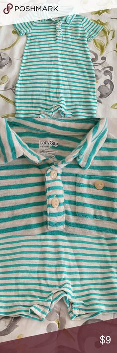 Baby gap button down collar one piece Euc, baby gap 3-6 months beautiful aqua and white supe soft 100% cotton adorable summer outfit.  Smoke free, pet free home. baby gap One Pieces Bodysuits