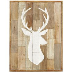 Wood Patchwork Deer Wall Decor ($70) ❤ liked on Polyvore featuring home, home decor, wall art, distressed home decor, wooden wall art, deer home decor, white home decor and silhouette wall art