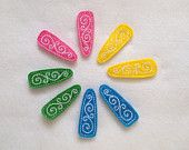 Swirl Felt Snap Clip Barrettes - You choose the color you want.