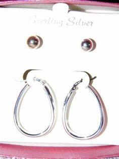 Two Pair of Sterling Silver Hoop & Stud Earrings-NEW IA15