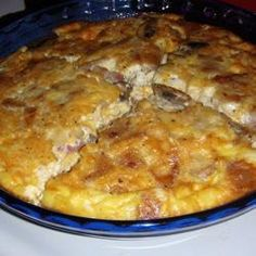 Diced ham, Cheddar, and mozzarella dress up this easy egg dish. It's a wonderful brunch dish or company breakfast. Omelettes, Low Gi Foods, Pcos Diet, Brunch Dishes, Egg Dish, Allrecipes, Casserole Dishes, Low Carb Recipes, Macaroni And Cheese