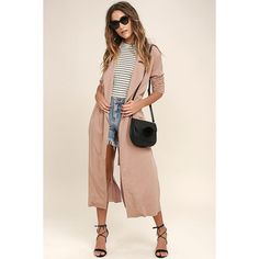 Easy Breezy Blush Pink Trench Coat ($82) ❤ liked on Polyvore featuring outerwear, coats, pink, rokoko, pink trenchcoat, trench coat, long sleeve coat and pink coat