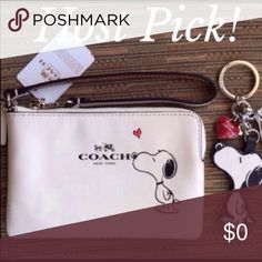 "Coach Snoopy Wristlet & Keychain NWT Limited Edition Peanuts Snoopy Collection  ✨Crafted of Coach's Top Quality Calf Leather in stylish white.  (Calfskin is Particularly valuable because of its softness, and fine grain and grain patterns as well as its durability. ✨There are (2) multifunctional slot pockets on the inside of Wristlet. ✨Measurements 6 1/4"" (L) X 4"" (H) ✨The Wristlet is brand new with tags attached and product care card. ✨Note:  These (2) items have original tags and show NO…"