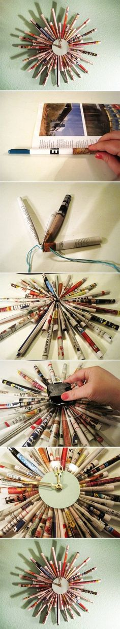 DIY Newspaper Tube Wall Clock, or could be a mirror, or picture frame.