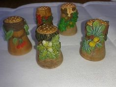 Beautiful Set of Wooden Thimbles with Metal Adornment | eBay /  Apr 19, 2014 / GBP 22.00 / 1,290.99 RUB