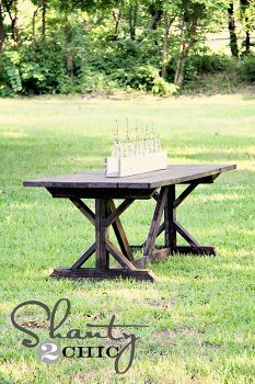 diy farmhouse table for 65, outdoor furniture, outdoor living, painted furniture