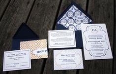 White Navy Yellow Wedding | navy-yellow-white-custom-wedding-invitations-nautical-wedding-ideas
