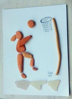 Image result for pebble art basketball player