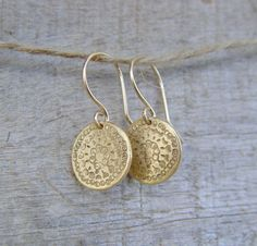 SALE Gold Disc Earrings Gold Earrings Gold by ravitschwartz
