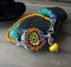 Sunshine Girl - Boho Chic Bracelet - Art Glass - Lampwork Pendant / Necklace - Finest Murano Glass - by Michou Pascale Anderson by MichouJewelry on Etsy