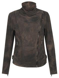 Muubaa Juana Suede Biker Jacket in Wood Bark. this is a very Mako-esque jacket