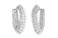 HARRY WINSTON PLATINUM EARRINGS    Harry Winston platinum diamond wrapped earrings containing apx 24.0ct of round brilliant cut E-F color VS clarity diamonds and weighing 45.7g