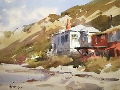 Andy Evansen     'End of Crystal Cove', 11 x 15 watercolor. I walked to the end of the row of dilapidated historic cottages and had the place to myself. LPAPA19th