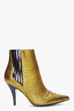 Phillip Lim Gold Delia Chelsea Boots - I would wear these all winter long with everything! Best Sneakers, Sneakers Fashion, Fashion Shoes, Gold Boots, Yellow Boots, Cinderella Shoes, Sexy Boots, Chelsea Boots, Ankle Boots