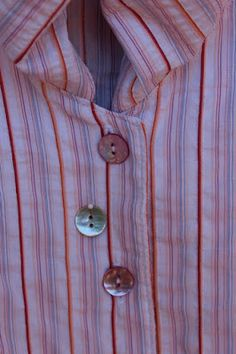 Communing With Fabric: Liberty Shirt with Pulled Collar--dyed shell buttons