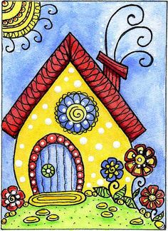 Whimsy house by dots 'n' doodles Watercolor Art, Simple Watercolor, Watercolor Animals, Watercolor Background, Watercolor Landscape, Watercolor Illustration, Watercolor Flowers, Watercolor Pencils, Painting Flowers