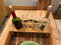 Reclaimed solid wood handcrafted stained monogrammed tray with double wine bottle and wineglass insert Wood Creations, Wine Rack, Solid Wood, My Etsy Shop, Unique Jewelry, Handmade Gifts, Vintage, Home Decor, Haus