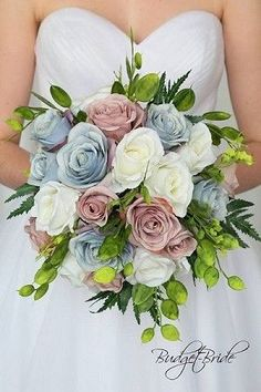 Blue Wedding Flowers Boho Rustic Chic Wedding Bouquet in mauve, dusty rose, steel blue and white Blue And Blush Wedding, Blush Wedding Flowers, Dusty Rose Wedding, Flower Bouquet Wedding, Wedding Colors, Bridal Bouquets, Flower Bouquets, Summer Wedding Flowers, Peach Bouquet